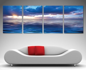 Blue reflections - 4 panel