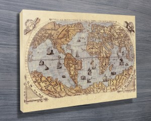 Medieval World Map Canvas Art