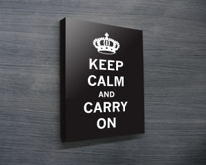 Keep Calm & Carry on Canvas Wall Art in black and white