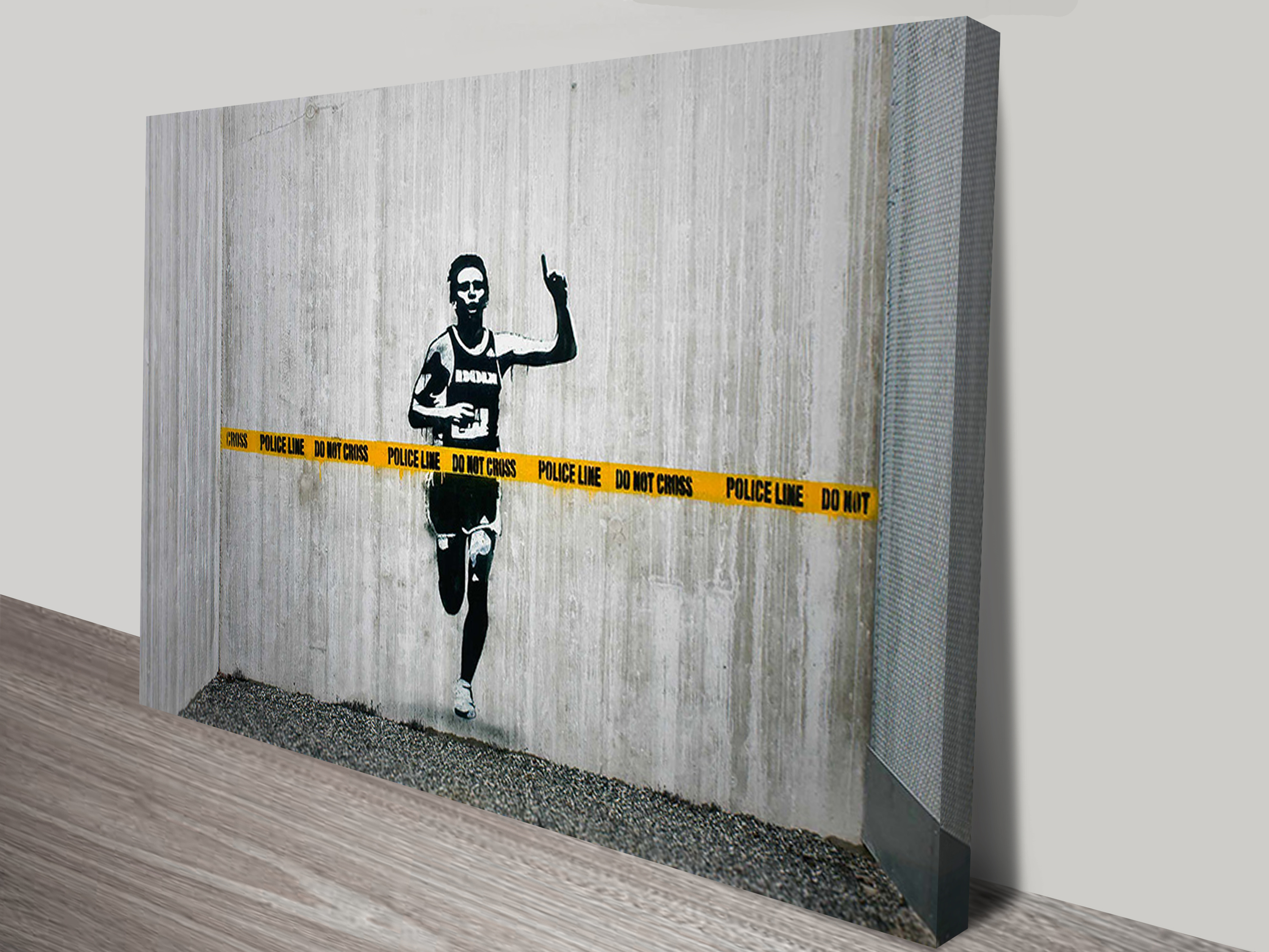 Next Wall Art Stickers Banksy Police Line Canvas Wall Art Print