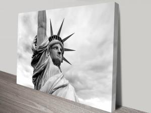 Black and White Statue of Liberty Wall Art Print