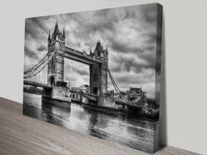 London Bridge Black and White Canvas Art Print
