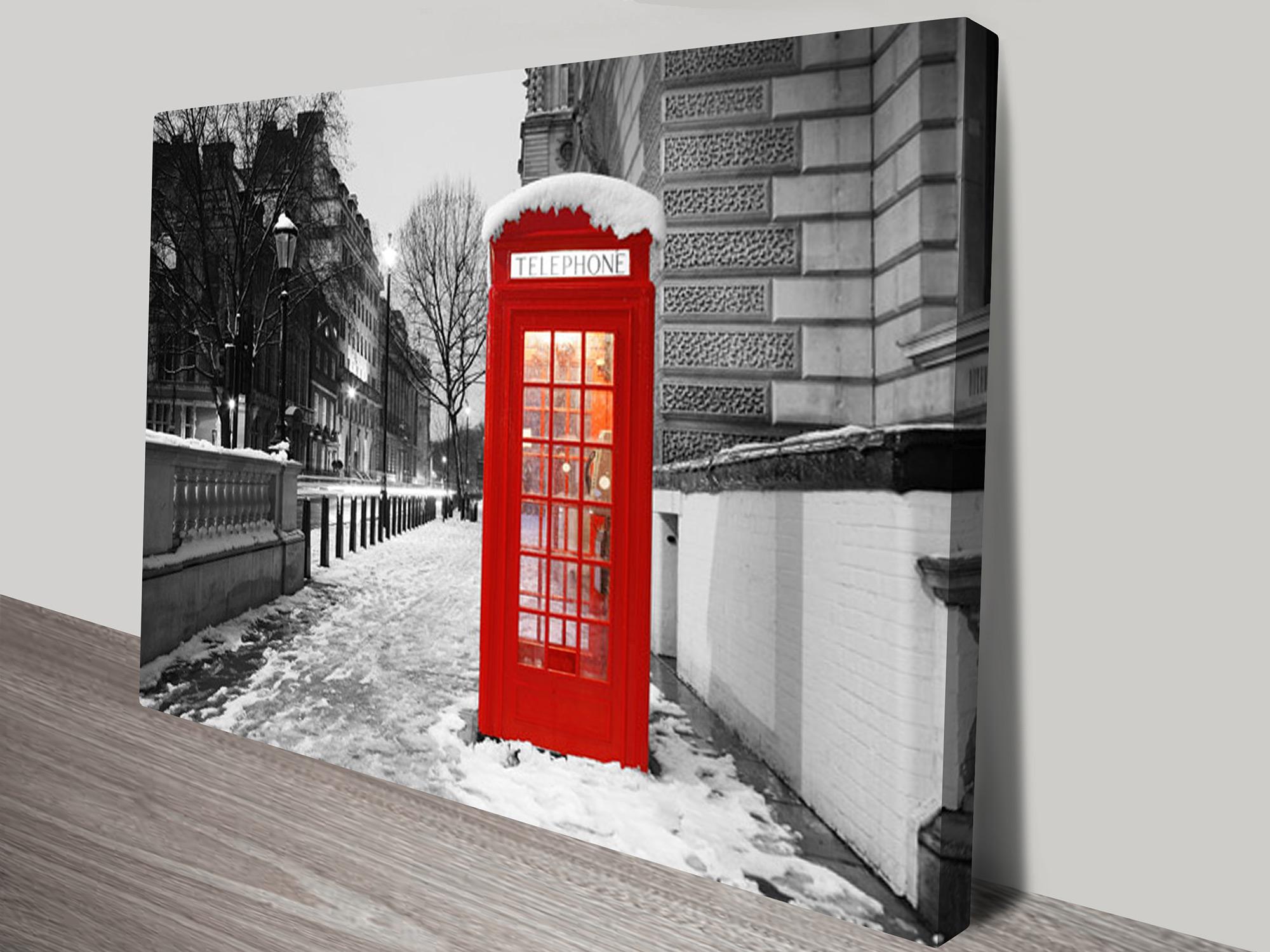 Wall Art Telephone Box : Old telephone box canvas photo print