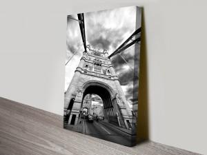 Tower Bridge Black and White Photo Canvas Art Print