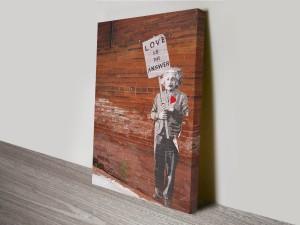 Banksy Einstein Love Artwork on Canvas