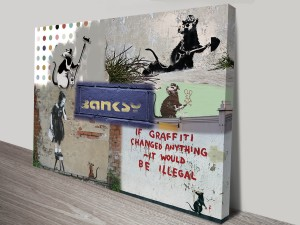 Banksy Rat Collage Canvas Print