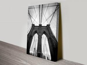 Black and White Suspension Bridge Artwork on Canvas