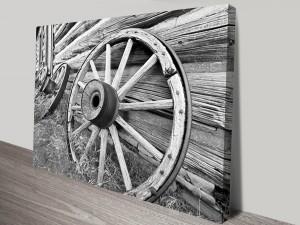 Wagon Wheel Black and White Canvas Wall Art
