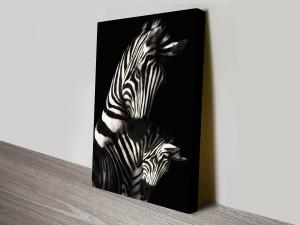 Zebras Black and White Artwork on Canvas