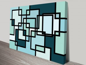 Blue Abstract Neoplasticism Artwork on Canvas