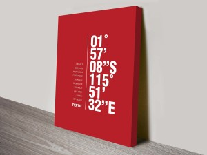 Perth Red Coordinates Places Framed Wall Art Print Oz
