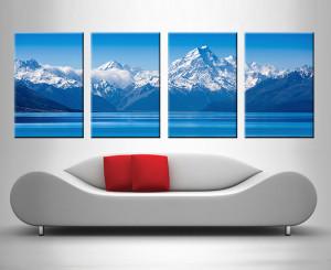 blue mountain 4 panel lake wall art print on canvas
