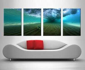 bream under a breaking wave quad panel wall art canvas australia