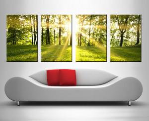 sunlit meadows 4 panel wall art print on canvas