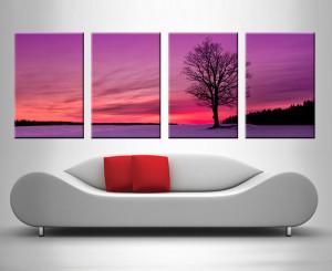 tree at dusk quad panel wall art print on canvas australia