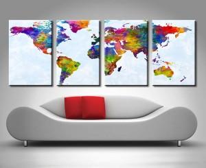michael tompsett watercolour map of the world map quad canvas print