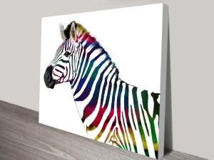 the rainbow striped zebra wall art canvas print