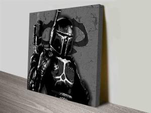 black and white boba fett wall art print