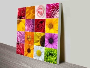 floral collage canvas art wall print