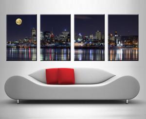 montreal at night 4 panel wall canvas print