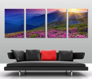 pink fields quad panel canvas print australia