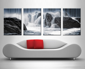 rocks and water 4 panel wall art print on canvas