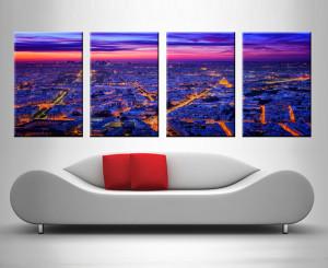 paris at dusk 4 panel beautiful photo art