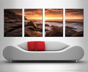 sunset at the sea 4 panel custom photo art