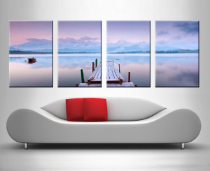 lake tranquility 4 panel wall art canvas print