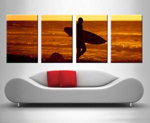 sunset surfer 4 panel wall art custom print