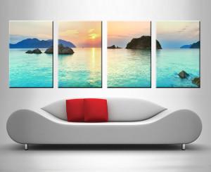 turquoise islands 4 panel custom wall art prints