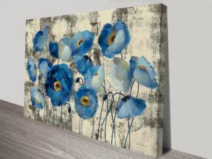 Aquamarine Floral Canvas Wall Art