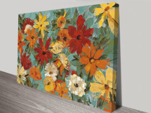 Bright Expressive Garden Wall Abstract Artwork on Canvas