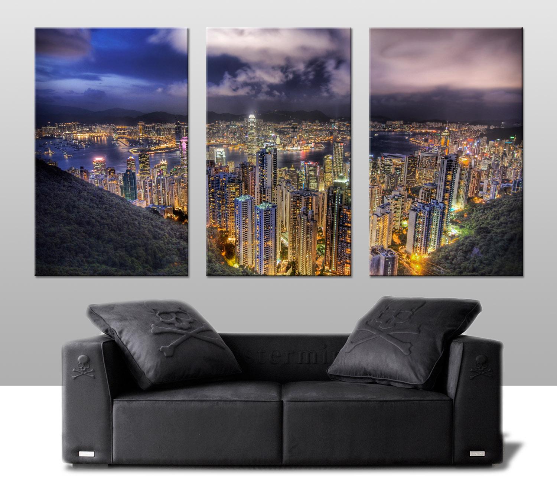Hong Kong Skyline Triptych Cavas Art