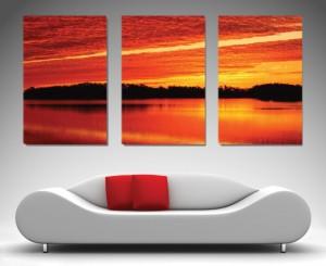Sunrise Triptych split canvas art