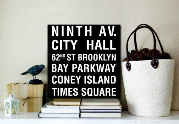 New York Square Subway Sign