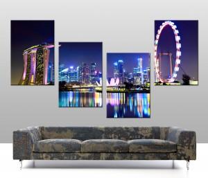 Singapore Skyline 4 panel