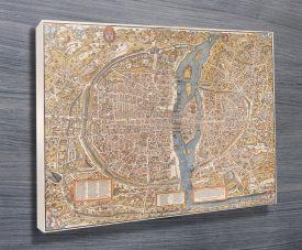 Vintage Paris Map Canvas Wall Art