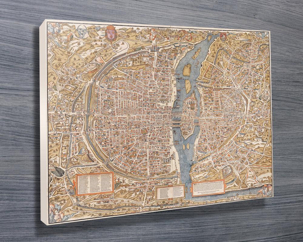 Vintage Paris Map Canvas Wall Art Australia