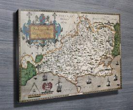 Vintage Dorset Map canvas