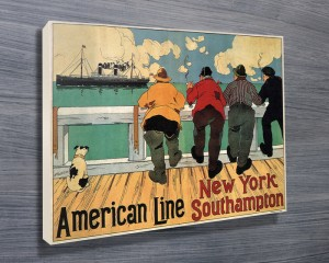 American Line Cruise Vintage Travel Poster