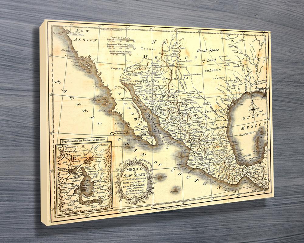 Vintage Mexico Map Wall Art - Canvas Prints Australia
