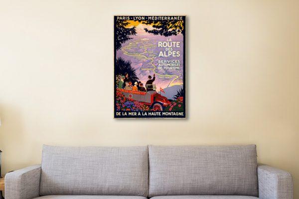 Alpes Vintage Poster on Canvas Wall Art AU