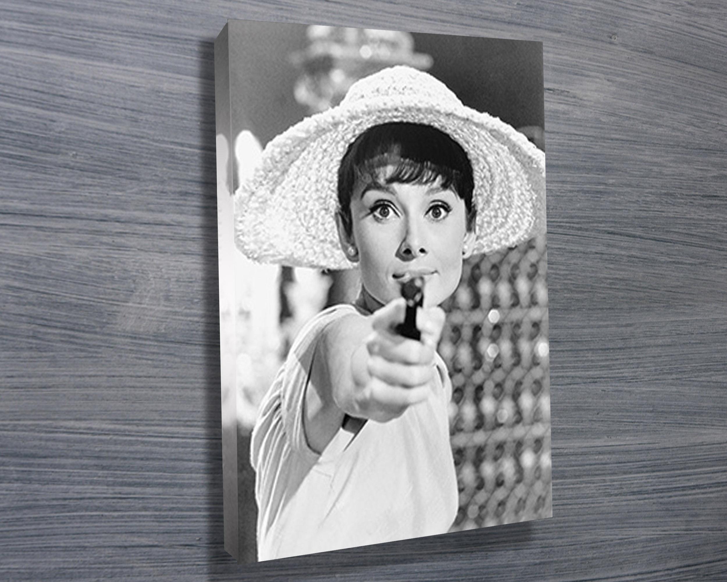 Audrey Hepburn Gun - Canvas Prints Australia