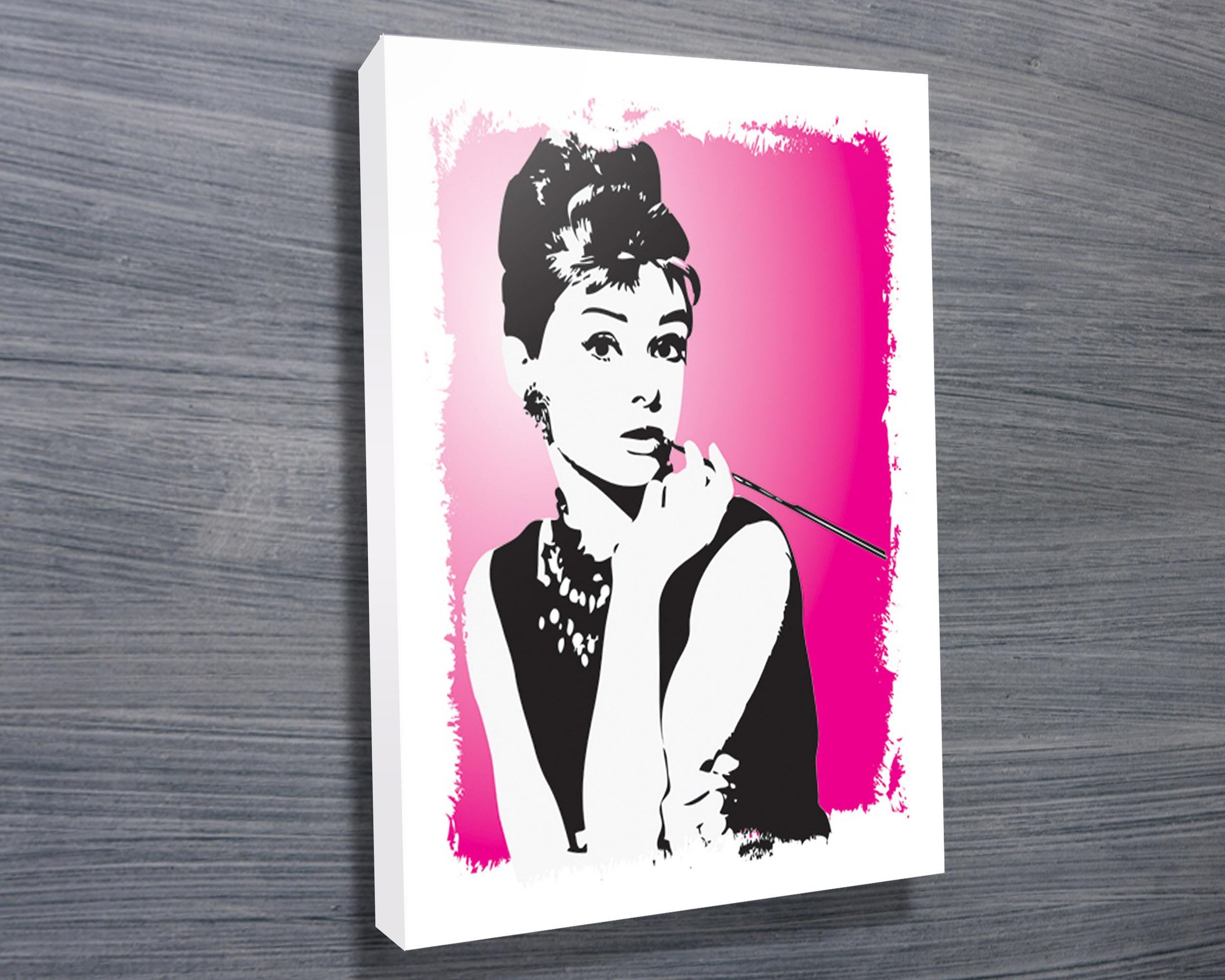 Audrey Hepburn Pink - Canvas Prints Australia