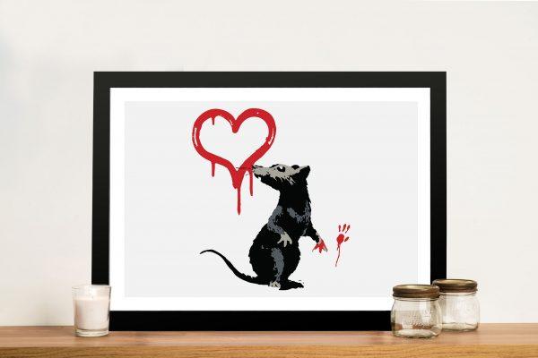 Banksy Rat Framed Graffiti Wall Art