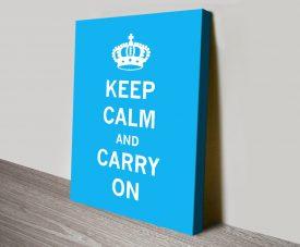 Light Blue Keep Calm & Carry On Wall Art