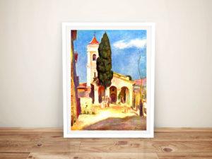 Classical Art Renoir Church in Cagnes Framed Wall Art Sydney
