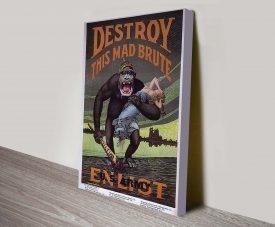 Destroy Propaganda Poster Art Print on Canvas
