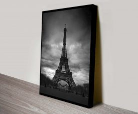 Eiffel Tower Black and White Canvas Art Print